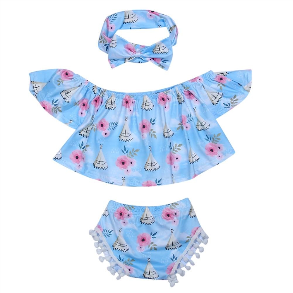Bebé infantil del verano fuera del hombro floral de la colmena del - Ropa de bebé
