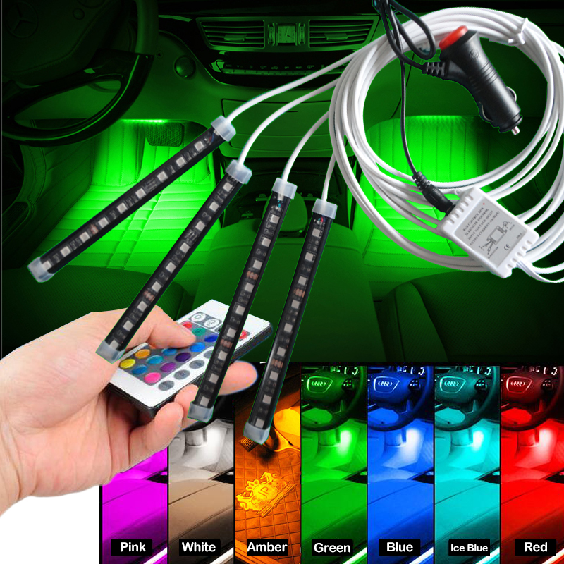 4 in 1 Wireless Remote Control Car RGB LED Neon Interior Light Lamp Strip Decorative Lights 9 LED Colorfu Atmosphere Light 2 4g wireless control 360 rgb color neon glow interior underdash foot floor seat accent ambient light for volvo s40 s40l