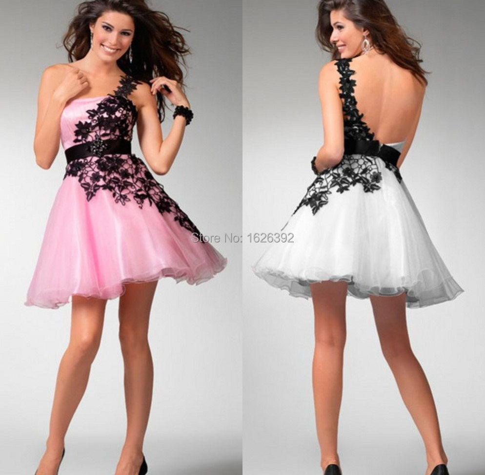 Sweet Fashion One Shoulder Lace Corset Homecoming Dresses A Line