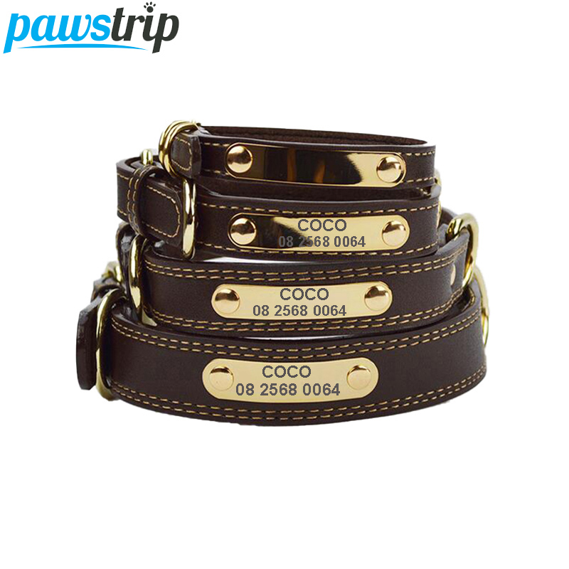 Pawstrip Engraved Dog Collar Leather Pet Tag Collar For Dogs French Bulldog Pitbull Large Dog Collar Lead Luxury Puppy Collars