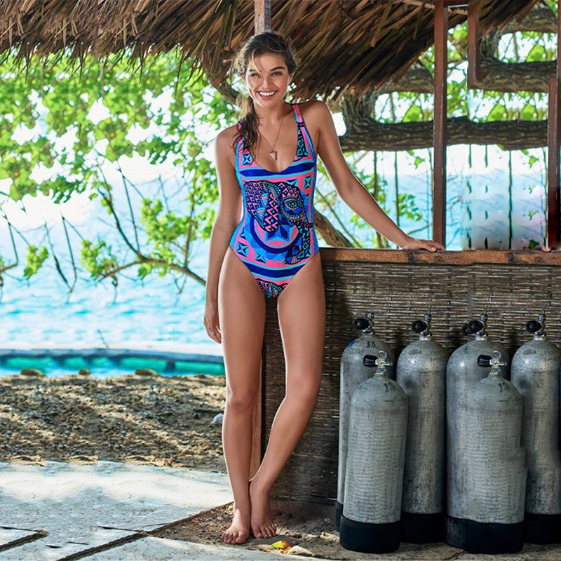 Swimwear Female Swimsuit One-Piece Woman 2019 One Piece Swim Suit Print Women Tong Products Polyester Halter Sexy Swimsuit