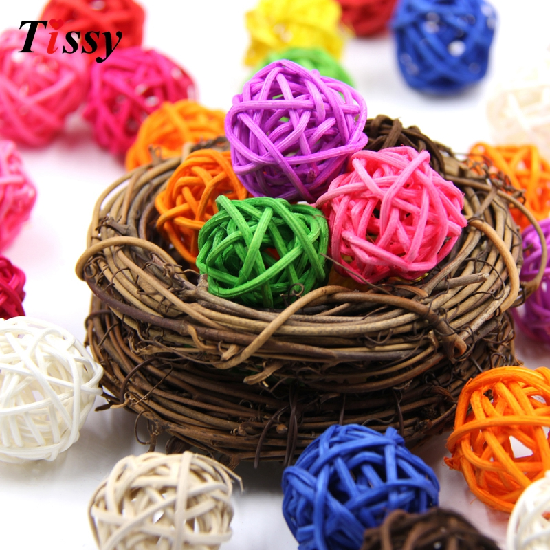 50PCS 3cm Rattan Ball Multicolor DIY Sepak Takraw Balls Home Ornaments&Christmas/Birthday/Wedding Party Decorations Kids Toys