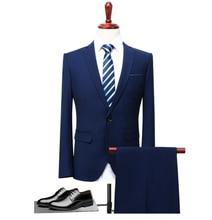 Navy Blue Men's Formal Slim Fit Tuxedo Suit Costume Homme Wedding Prom Suit For Men 3 Piece Traje Hombre Jacket Vest Pant boys blue wedding suit slim fit suit boys prom suit blue page boy suit 3 piece
