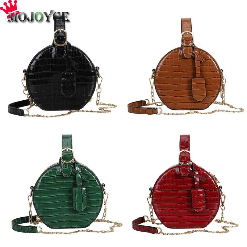 Round Crossbody Messenger Chain Bags Women Girls Personality Leather Shoulder Handbags Purse