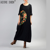 AZURE SHEN Spring Loose A Line Women Dress 2018 Retro Literary Casual Pullover Patchwokr Print