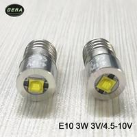 E10 3 Вт, 3 Вт, 4 v-12 V 10 v 9 v 6 v 4,5 v Светодиодная лампа фонарь для дальнего света и фара Бесплатная доставка
