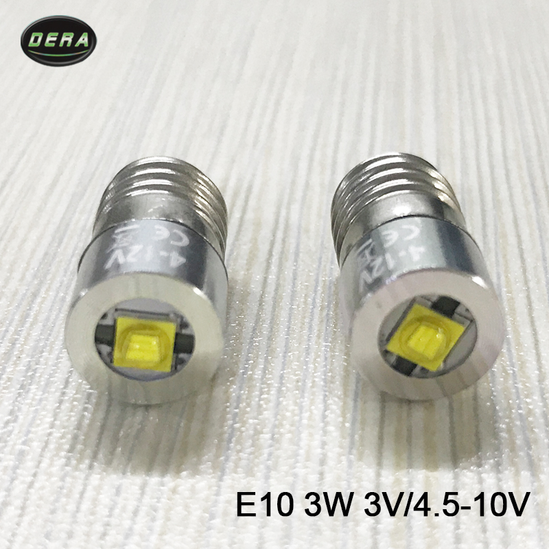 E10 3 w 3 watt 4 v à 12 V 10 v 9 v 6 v 4.5 v led lampe de poche lampe torche ampoule pour conduite lumières et tête lampe livraison gratuite