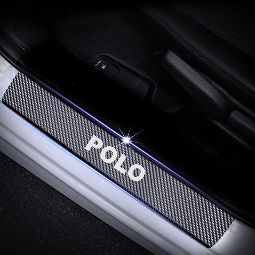 Для Volkswagen VW Polo автомобильный порог Накладка на порог двери Накладка 4D углеродное волокно Наклейка Автомобильные аксессуары 4 шт - Название цвета: White