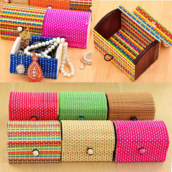 Hot Sale Pastoral Style Bamboo Storage Boxes Retro Jewellery Organizer Box for Storing Daily Accessories Sale