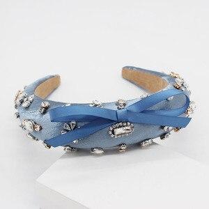 Image 4 - הבארוק אופנה יוקרה כדור סרט ריינסטון bow בגימור סרט שיער להקת נשי ילדה שיער אביזרי 965