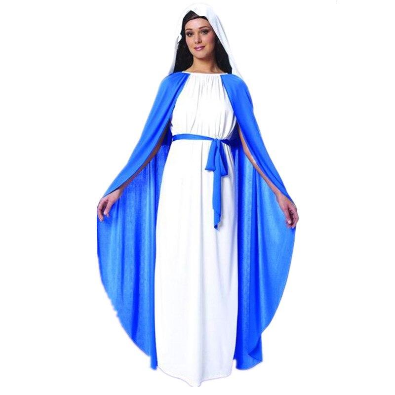 Qijun Cosplay Halloween costume beautiful nun adult Bible goddess Virgin Mary costumes for women