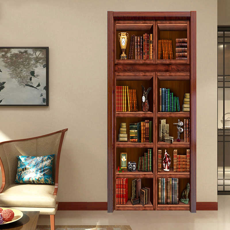 PVC Self Adhesive Waterproof Bookshelf Mural Wallpaper 3D Chinese Style Doors Renovation Sticker Living Room Study 3D Door Mural