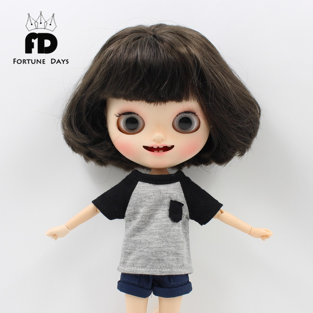 Free shipping for blyth doll icy t-shirt shorts cool girl boy casual licca 1/6 casual cactus pattern t shirt shorts twinset for women