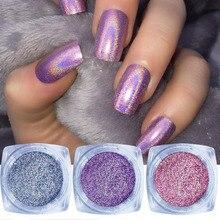 1g Holo Nail Art Glitter bardzo cienkie holograficzne paznokci Glitter pył lakier do paznokci w proszku Manicure akcesoria do paznokci