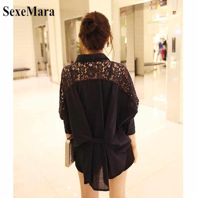 SexeMara/Новинка 2019 года; сезон весна-осень; Корейская женская шифоновая рубашка с длинными рукавами и кружевными отворотами; Цвет черный, белый; большие размеры