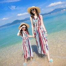 Mom And Daughter Dress 2017 New Summer Dress Girls Bohemia Style Parent-Child Chiffon Dress Kids Beach Family Matching