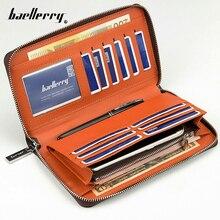 New Multi-function Business Vintage Brand Men wallets Long Zipper Brown Black PU Leather Wallet Purse Clutch Bags Phone Handbag