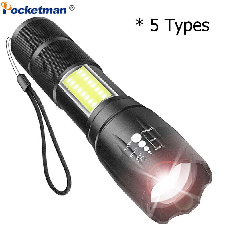 Powerful T6 LED COB Flashlight Mini COB Torch Zoomable Flashlight Waterproof Torch with 4 Modes Portable 5 Types Flashlights