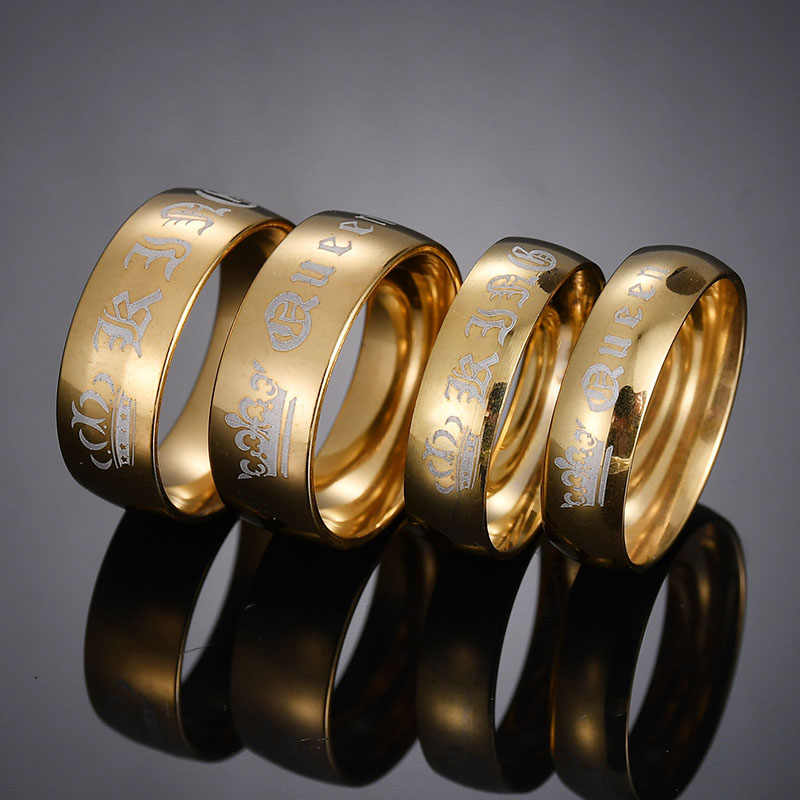 ELSEMODE 1 sztuka tytanu Vintage król królowa DIY grawerowane para pierścień romantyczny zaręczynowe obrączki dla kobiet mężczyzn biżuteria