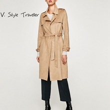 Фотография FREE DHL Suede Khaki Trench Coat Normcore Office Lady Lapel Minimalist Outerwear Slim Pink Sash Winter Haute Couture Long Coats