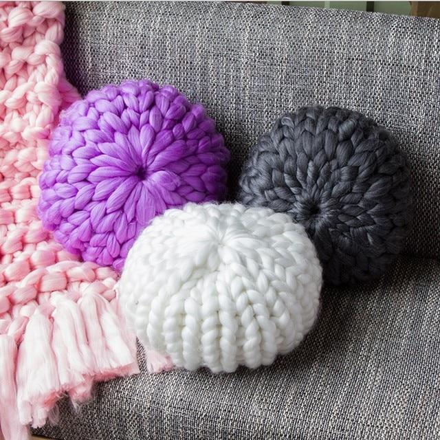 40cm Handmade Chunky Wool Pillow Chair Cushion King Size Knit Throw Super Big Bulky Arm Knitting oblong yarn pillow Sofa cushion