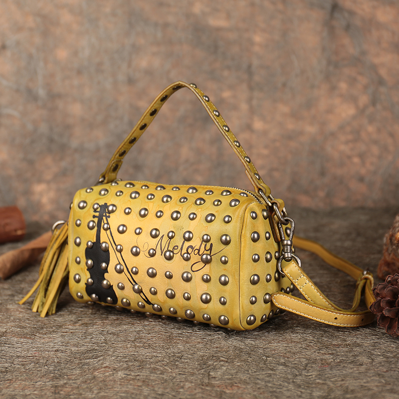 eb959e98ec6f Latest Leather Bags Women Handbag 2018 Rock Style Rivet Shoulder Bag Cello  Pattern Handmade Genuine Leather Crossbody Bag-in Shoulder Bags from Luggage  ...