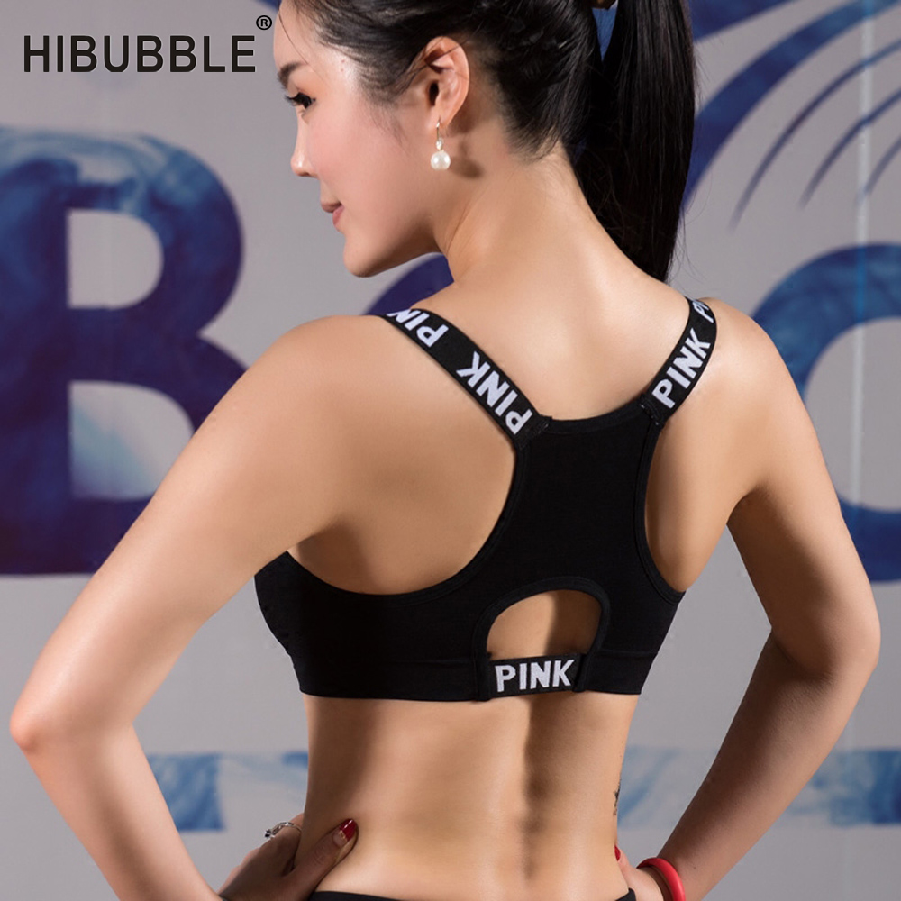 HIBUBBLE Women Sport Bra Black Padded Brassiere Fitness Tank Top Female Yoga Bra