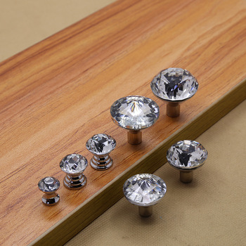 50pcs/pack K9 crystal glass cabinet handles furniture knob Single hole gray crystal glass knobs pull handles drawer