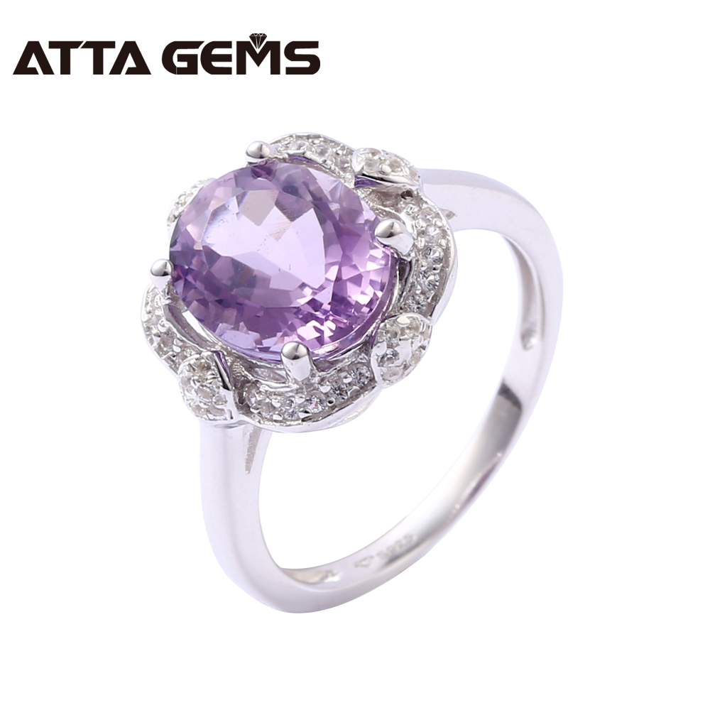 Natural Amethyst Sterling Silver Ring Women Party Jewelry 2 8 Carats Natural Crystal February Birthstone Design