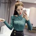 Autumn and winter slim thread halter-neck V-neck pullover sweater female long-sleeve knitted basic sweater