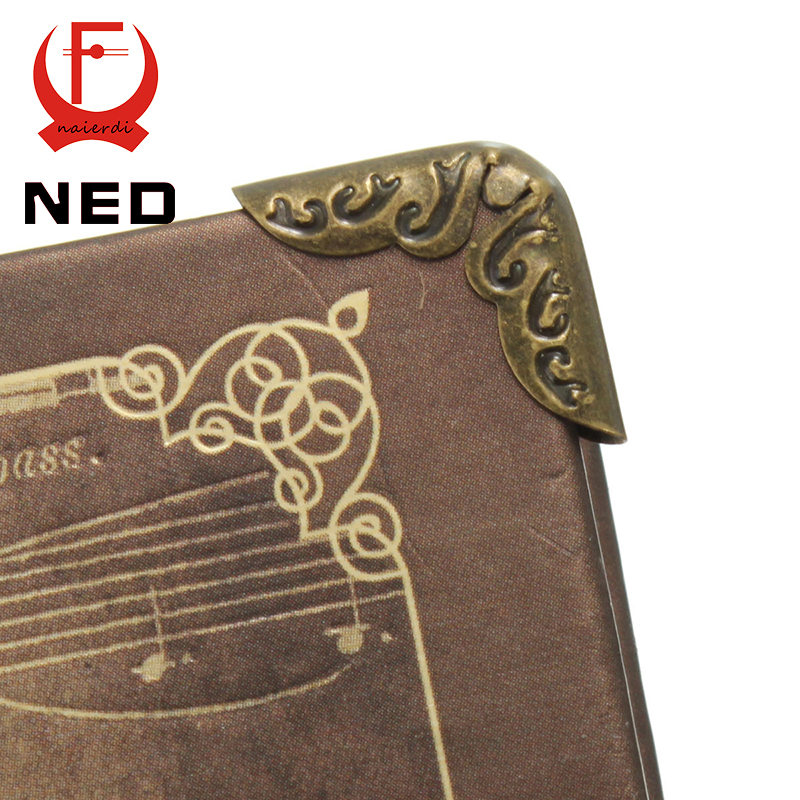 NED 100pcs 15x15x3mm Antique Brass Metal Book Scrapbooking Notebook Albums Menus Folders Corner Protectors Bronze Tone