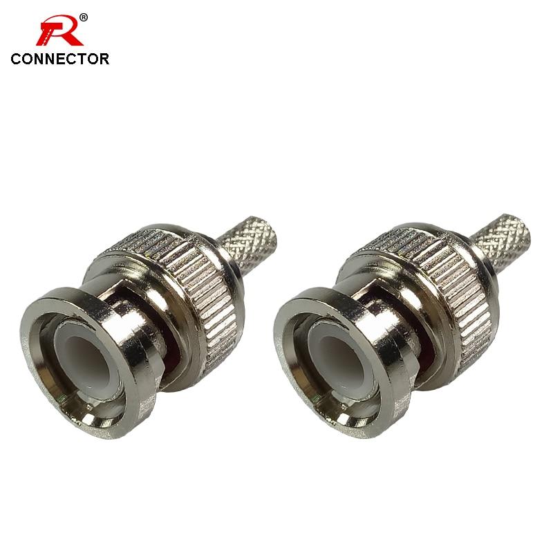 2 x BNC Male Crimp Plug Coaxial Cable Adapter Connector RG59//U