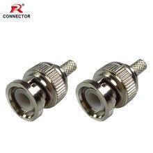 50pcs BNC Male Crimp Plug for RG58 RG59 RG6 Coaxial Cable BNC Crimp Connectors