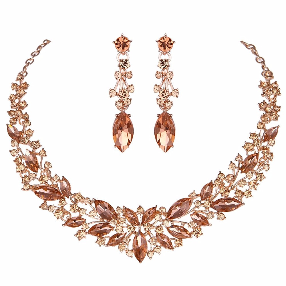 Crystal Wedding Bridal Jewelry Sets Silver Color rose gold color birdesmaid Rhinestone Wedding Jewelry Necklace Sets for Women 3