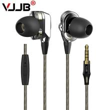 Brand New VJJB V1 V1S de Metal En la Oreja los Auriculares de Alta Calidad En La Oreja Los Auriculares Auricular Con Micrófono Remoto Doble Unidad de Accionamiento