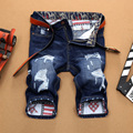 2017 Homens Verão calças de Brim Curtas Homem Jean Magro Moda Casual Designer Luz & Dark Blue Jeans rasgado calças marca Denim Fino masculino
