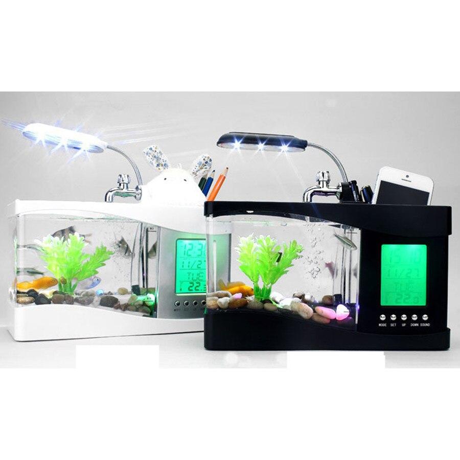 Usb mini aquarium fish tank - Usb Mini Fish Aquarium Tank Desktop Electronic Aquarium Fish Tank With Water Running Led Pump Light
