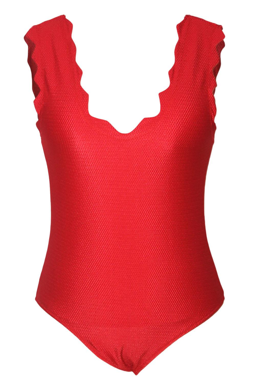 Sexy Women Scalloped V Neck Red One Piece Swimsuit Bikini Swimwear Teddy Bathingsuit Beachwear Maillot Summer Wear