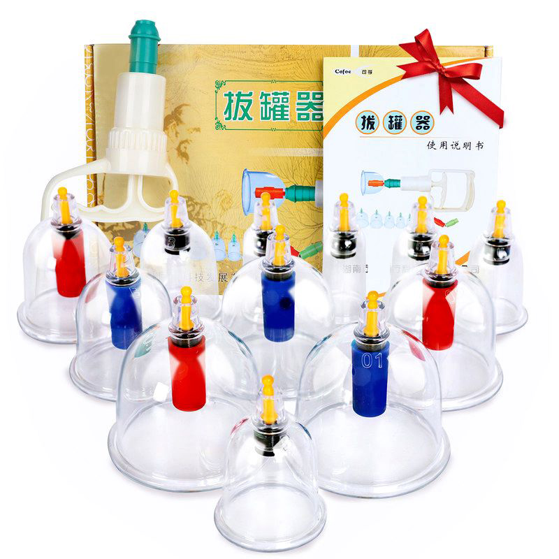 12pcs Cupping Can Chinese Therapy Vacuum Cupping Kit Body Massage Therapy Sets Acupuncture Suction Cup Healthy Care