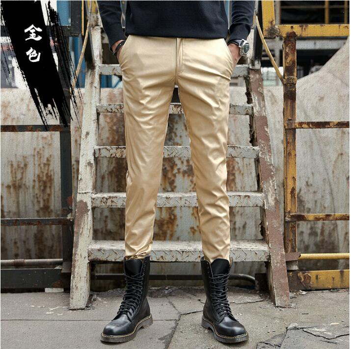2019 new fashion leather pants male Korean version of the slim feet pants men's tight motorcycle leather pants - 6