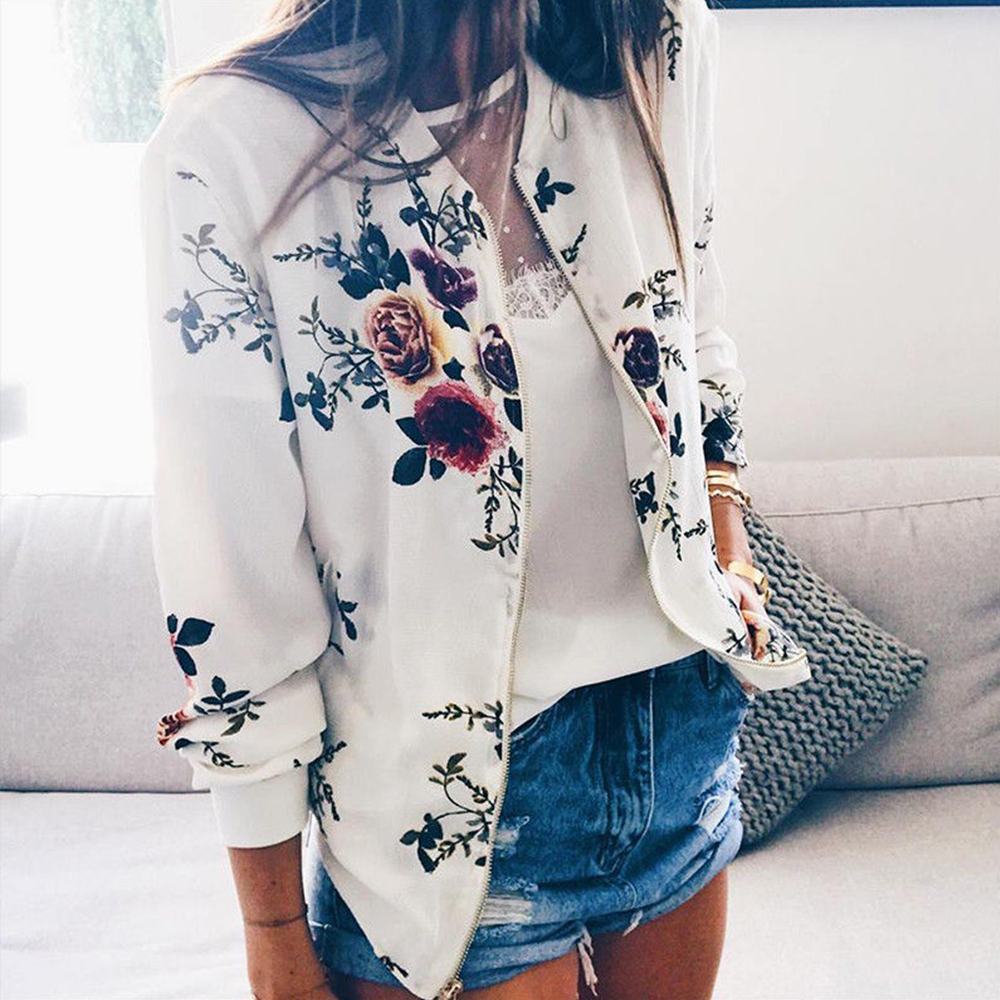Bomber Jacket Women Floral Print Plus Size Coat Spring Summer Ladies Casual Classic O Neck Long Bomber Jacket Women Floral Print Plus Size Coat Spring Summer Ladies Casual Classic O-Neck Long Sleeve Outwears Basic Coats