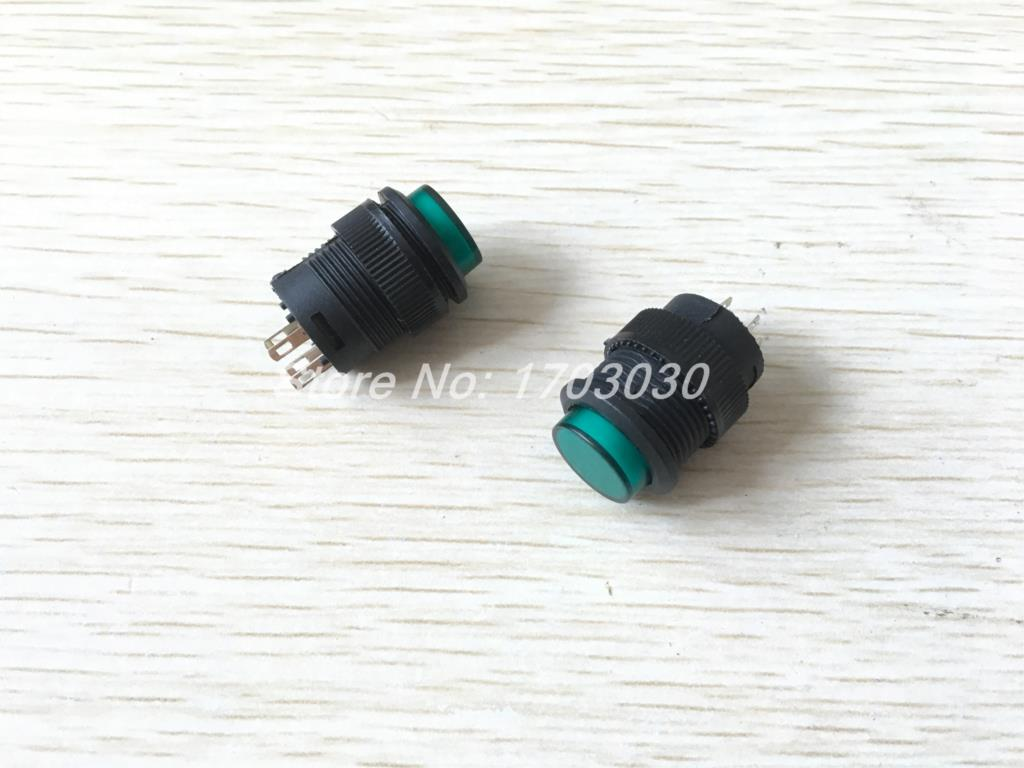 2 Pcs Green LED Light SPST Self Locking Push Button Switch R16-503 AC 250V 3A