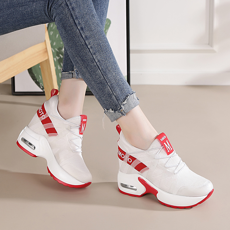 54fcd8afa60e Dumoo Girl Casual White Sneakers Shoes Women High Heel 9cm Leisure Platform  Wedges Height Increasing Lady