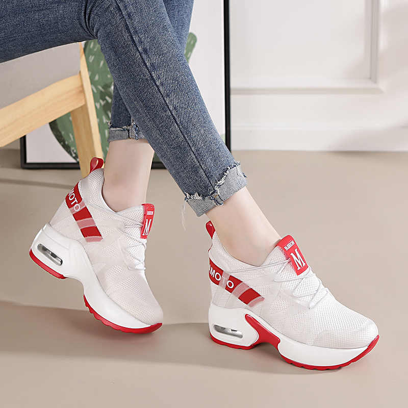 ccc5686ad Dumoo Girl Casual White Sneakers Shoes Women High Heel 9cm Leisure Platform  Wedges Height Increasing Lady