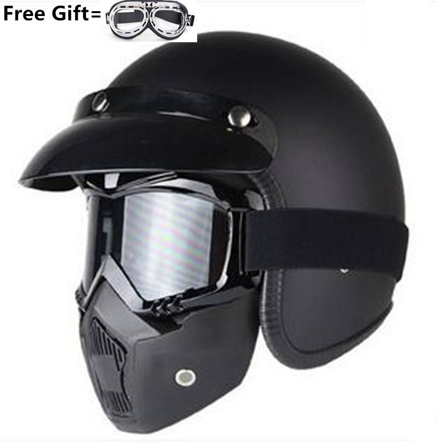 Harley Helmets 3/4 Motorcycle Chopper Bike helmet open face vintage motorcycle helmet with goggle mask motocross S M L XL XXL