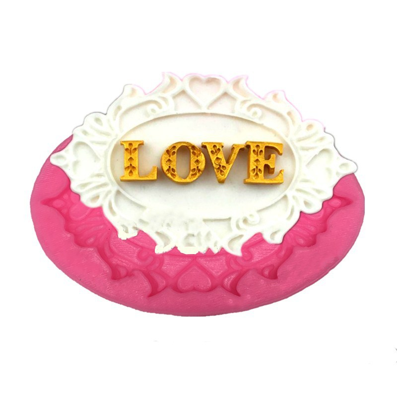Love Heart Lace Photo Frame Silicone Biscuit Cake Fondant Mould,Cookie Chocolate Mold
