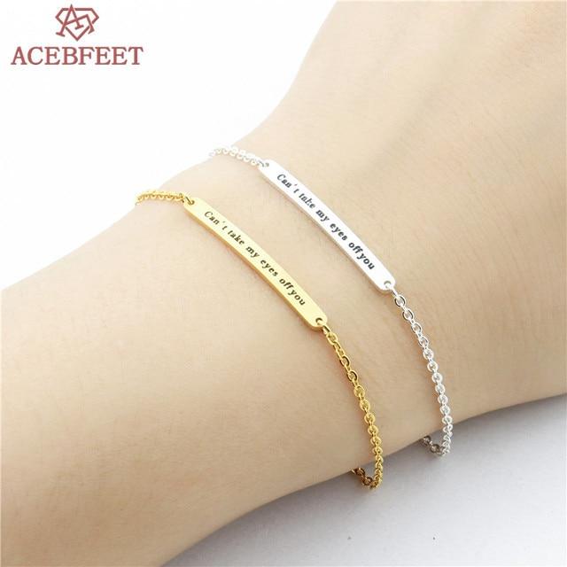 Acebfeet Bar Charm Bracelet 2018 Jewelry Gold Silver Geometric Joyas Stainless Steel Link Bracelets Trendy Accessories