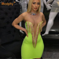 2019 Summer New Women Fashion Sexy Bandage Dress Fluorescent Green Spaghetti Mini Dress Celebrity evening Party Vestidos
