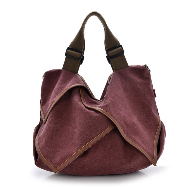 Luxury Brand Handbags Canvas +Cowhide Leather  Women Bags Hobo Messenger Bags Famous Top-Handle Bags
