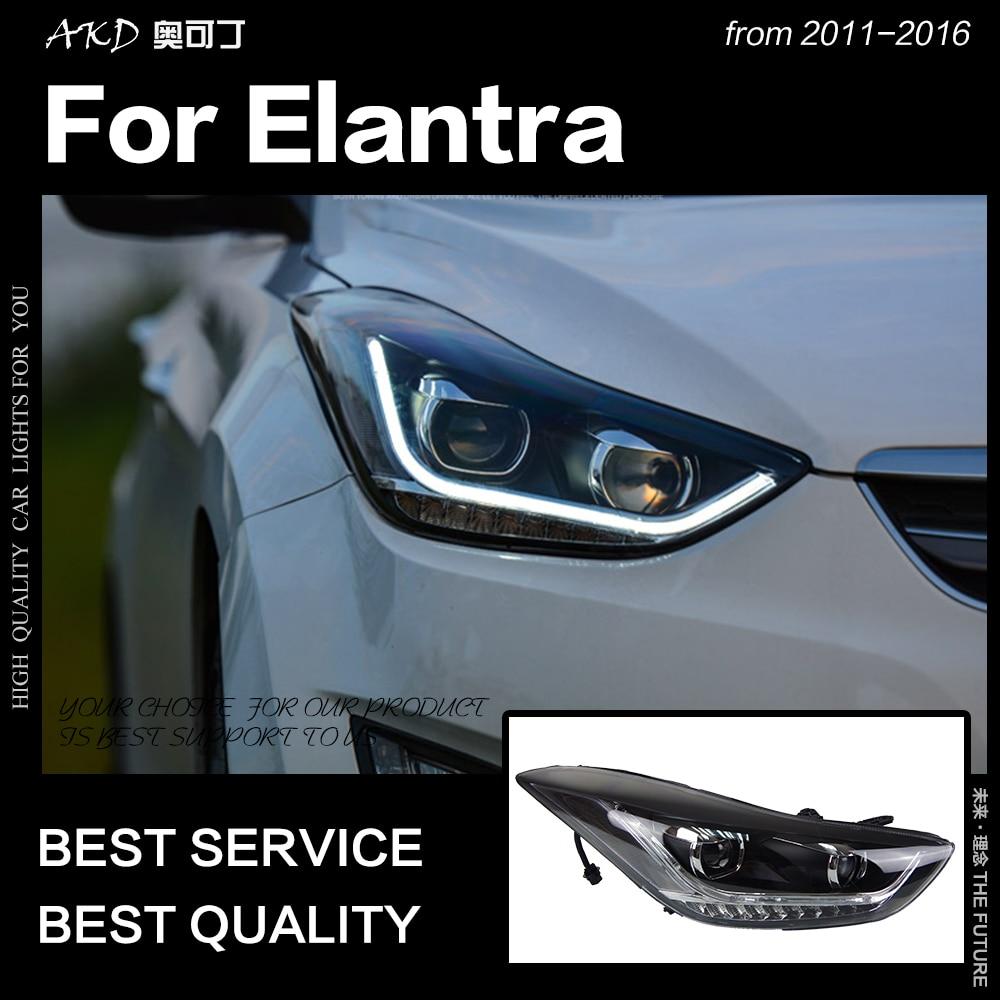 AKD Car Styling Head Lamp for Hyundai Elantra Headlights 2011 2016 Elantra MD LED Headlight DRL